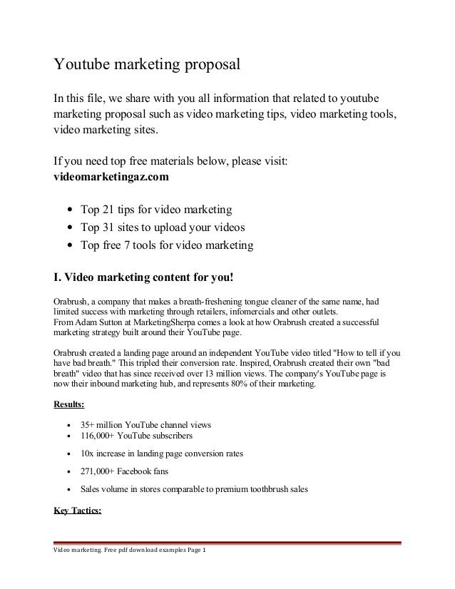 Youtube Marketing Proposal Template