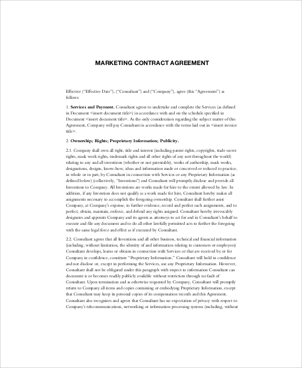 Marketing Agency Contract Template