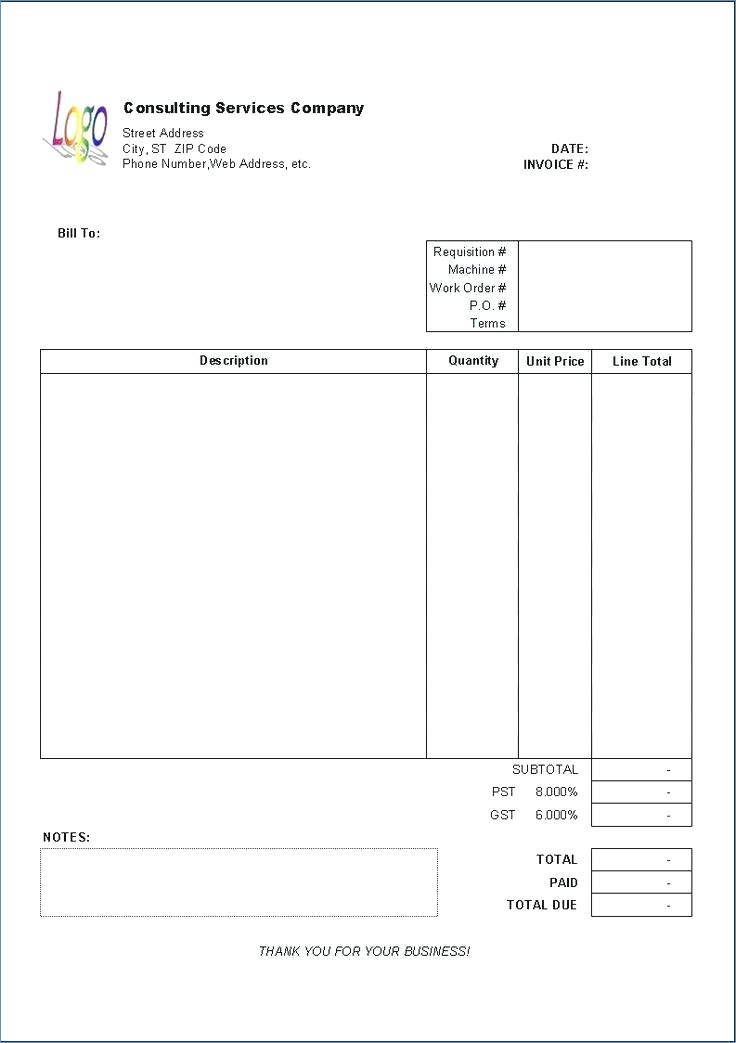 Consultant Invoice Template PDF