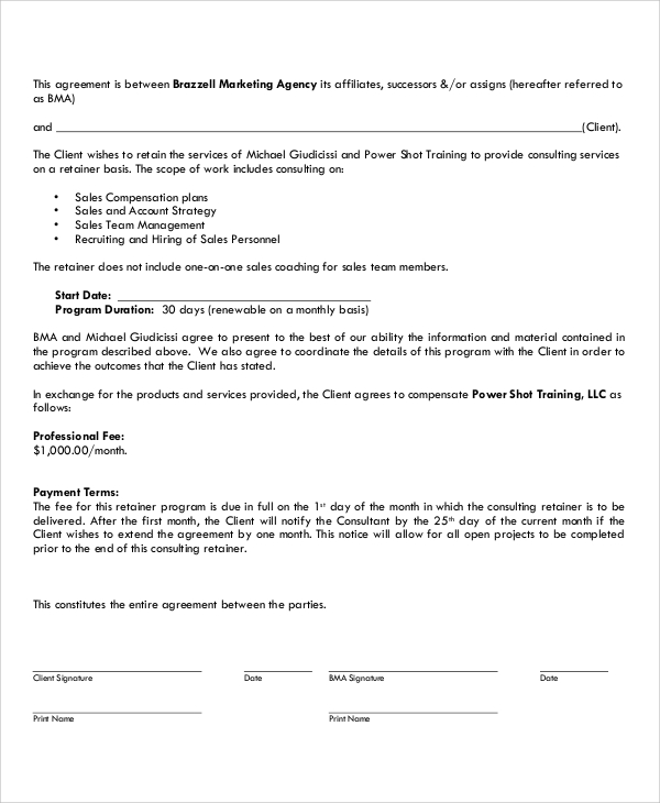 Consulting Retainer Agreement Template PDF