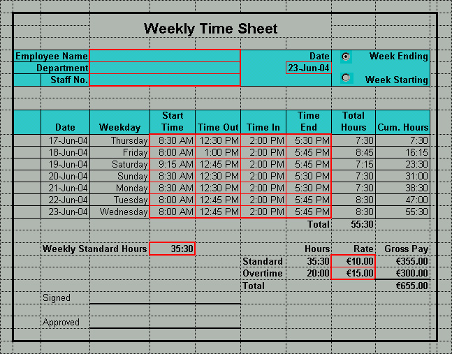 Excel Time Sheet PDF