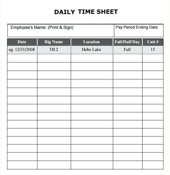 Daily Timesheet Template PDF