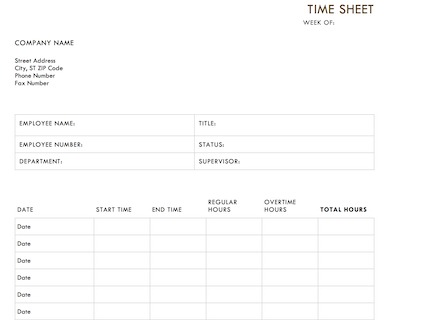 Timesheet Template PDF Example