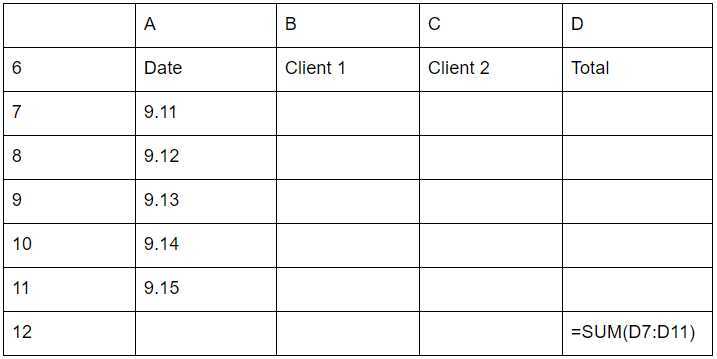 Excel timesheet sample