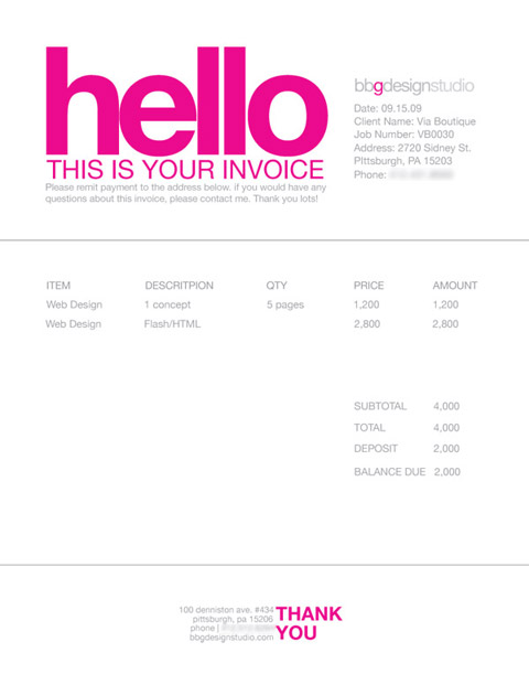 Illustration Invoice Template Sample