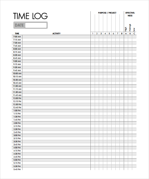 Time Log Template Sample