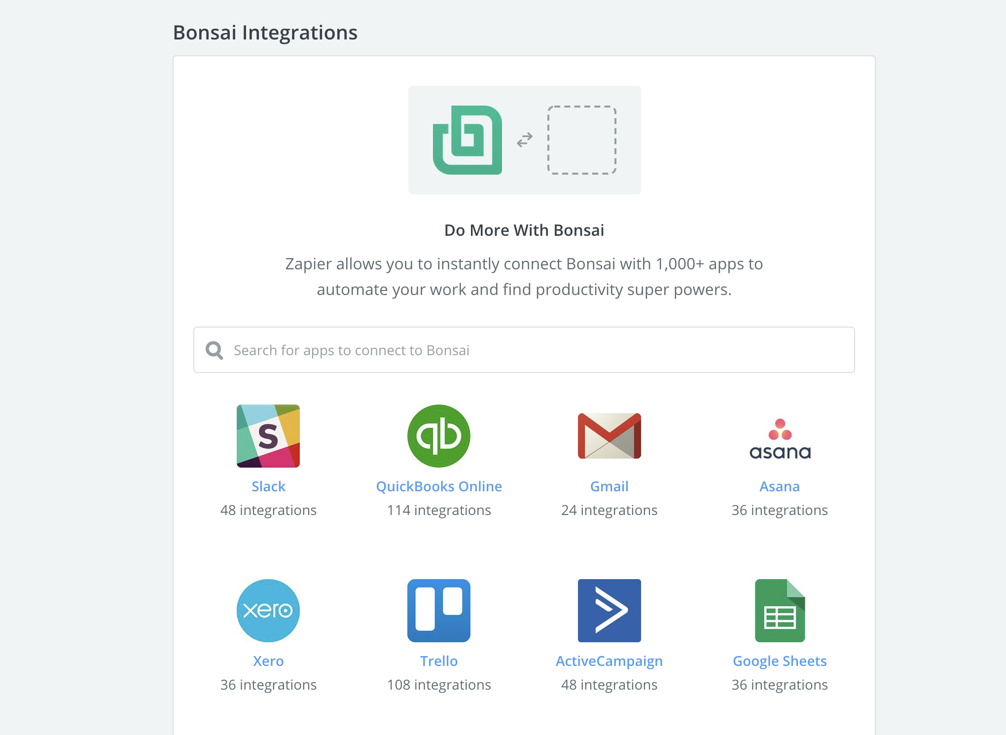 Bonsai Zapier integrations