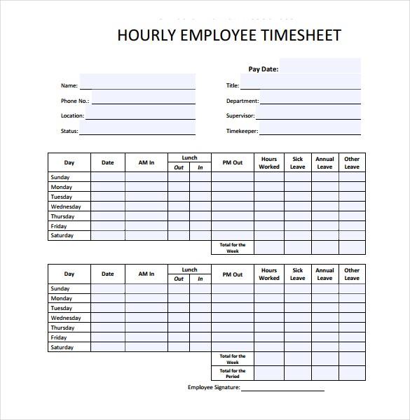 Hourly Timesheet Sample