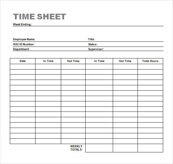Simple Timesheet Sample