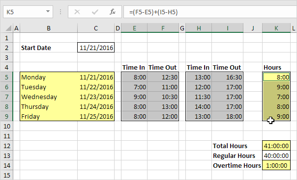 Download Time Sheet Template (Excel) - Bonsai