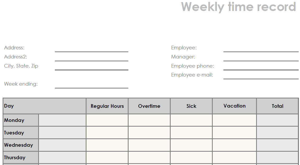 Timesheet Template PDF Sample