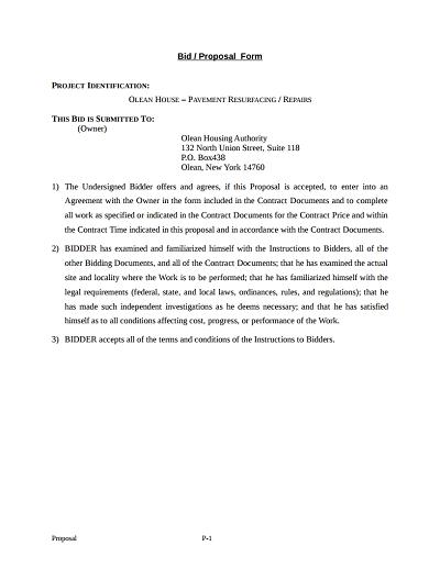 Bid Proposal Template Sample