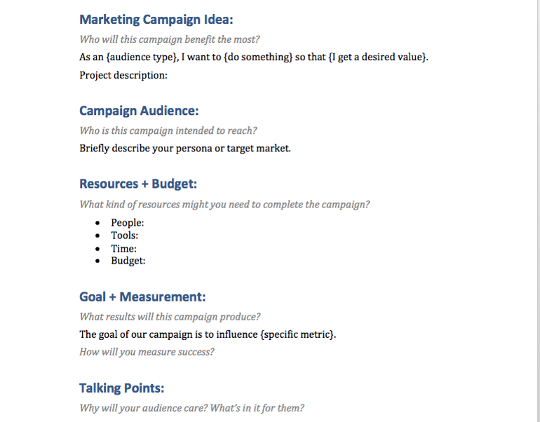 Marketing Campaign Brief Template Example