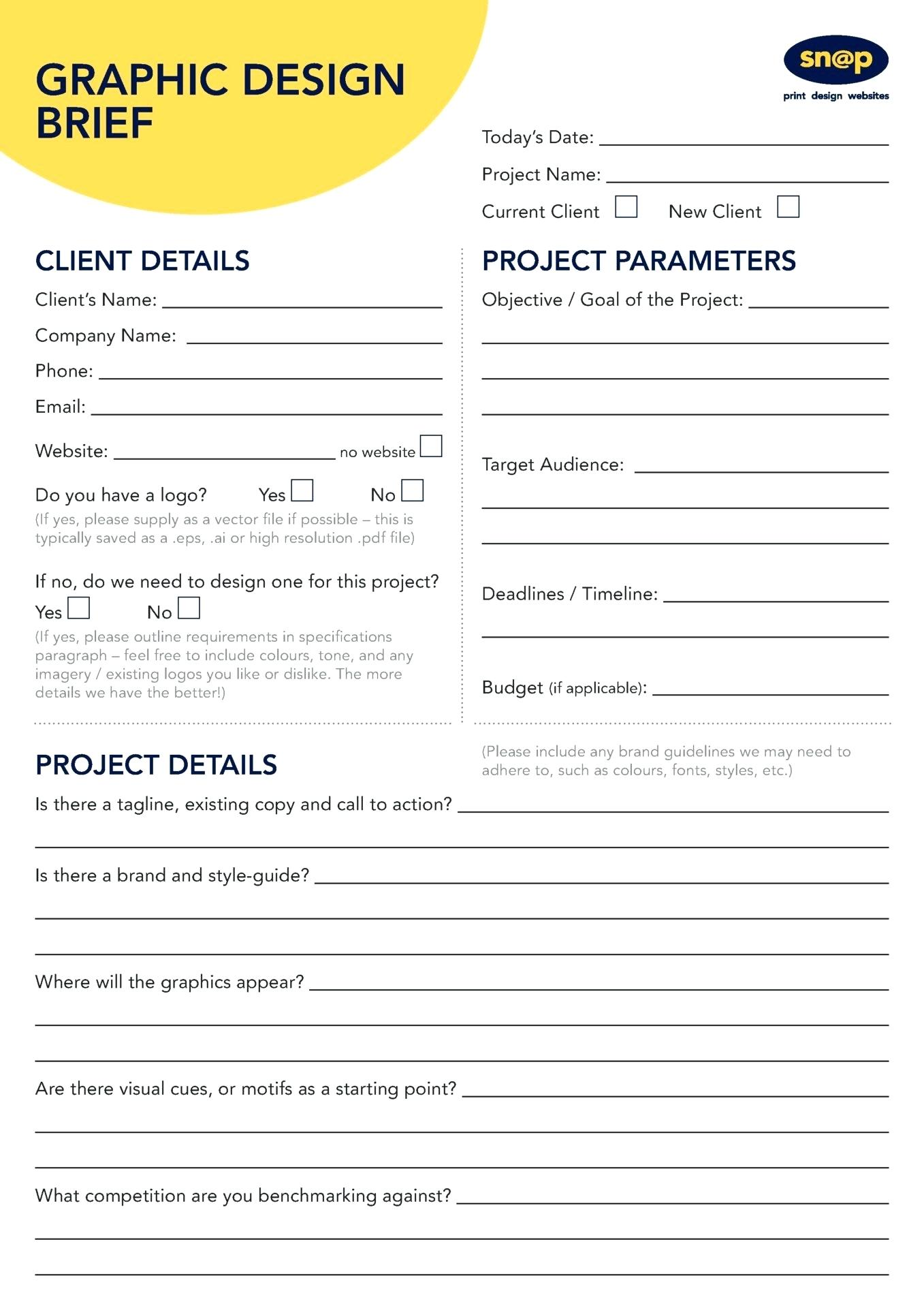 Graphic Design Brief Template Sample