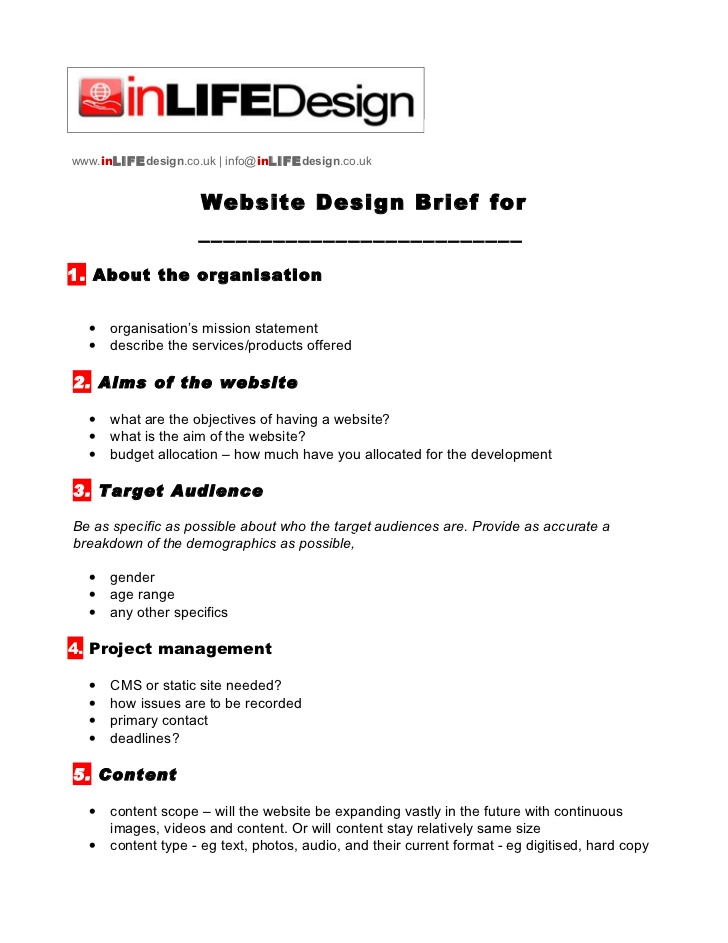 Website Brief Template