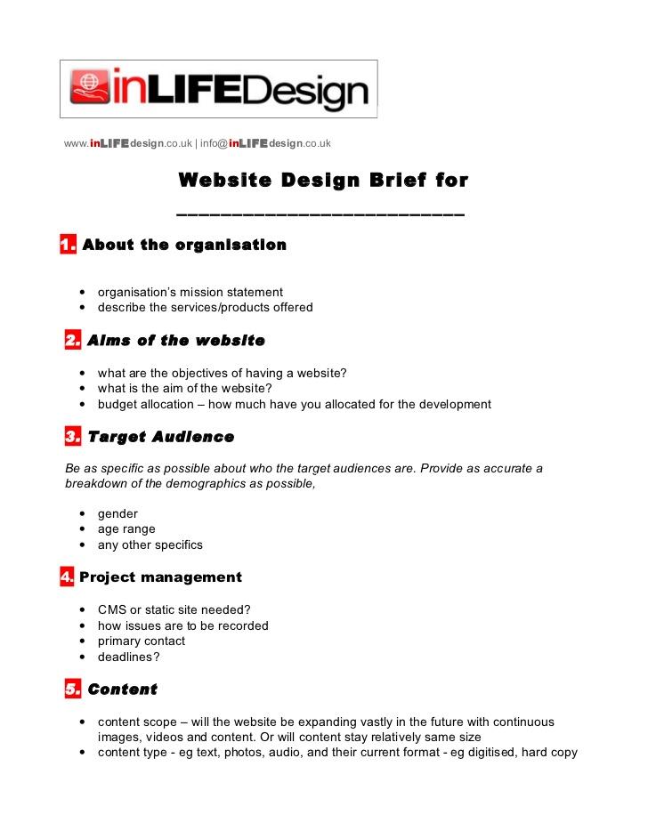 Website Creative Brief Template Sample