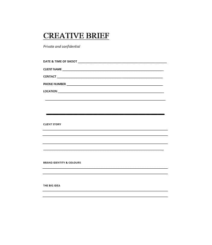 Creative Brief Template Word