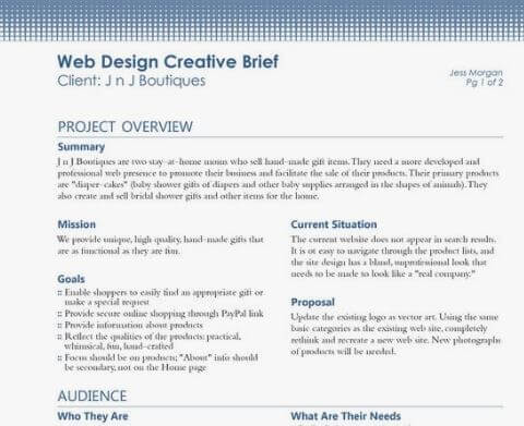 Web Design Brief Template Sample