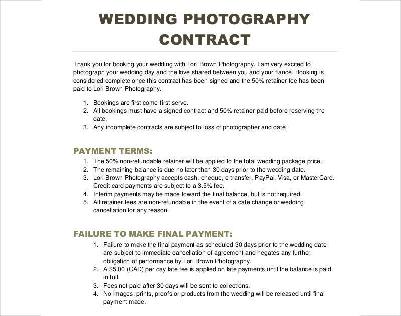 Photography Contract Template Sample