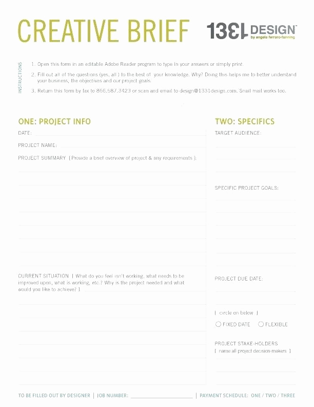 Photography Brief Template Sample