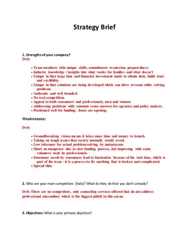 Strategy Brief Template