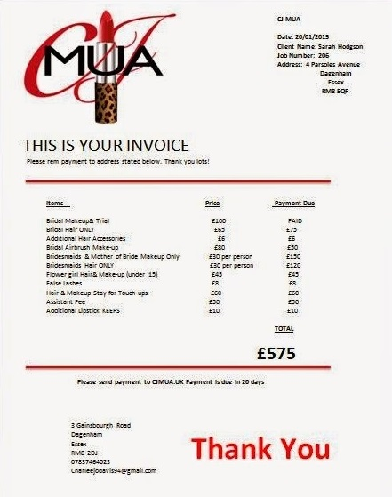 Makeup Artist Invoice Template Sample