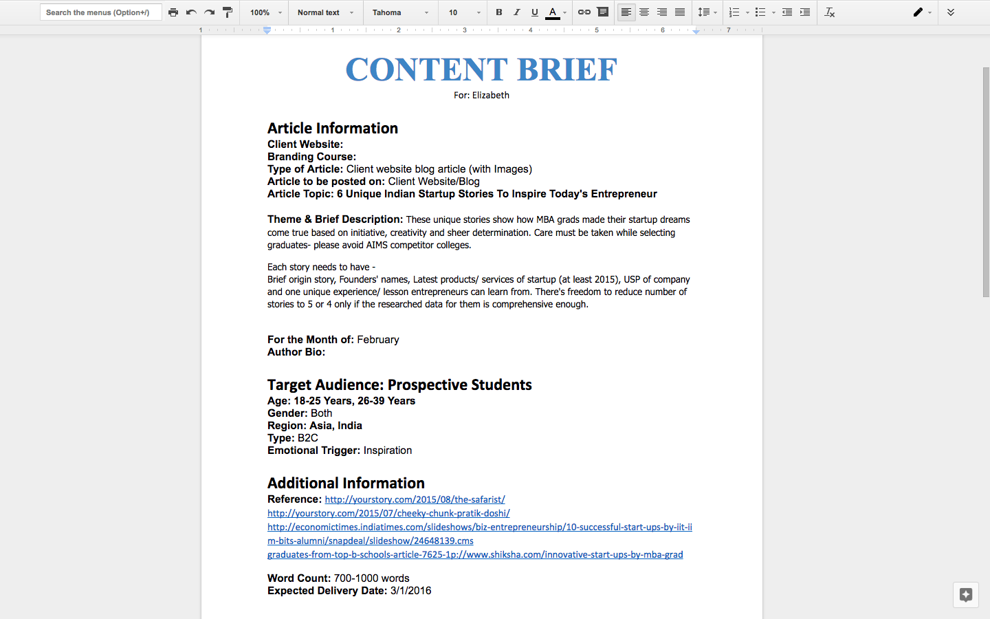 Content Brief Template