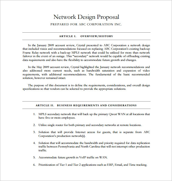 Network Design Proposal Template