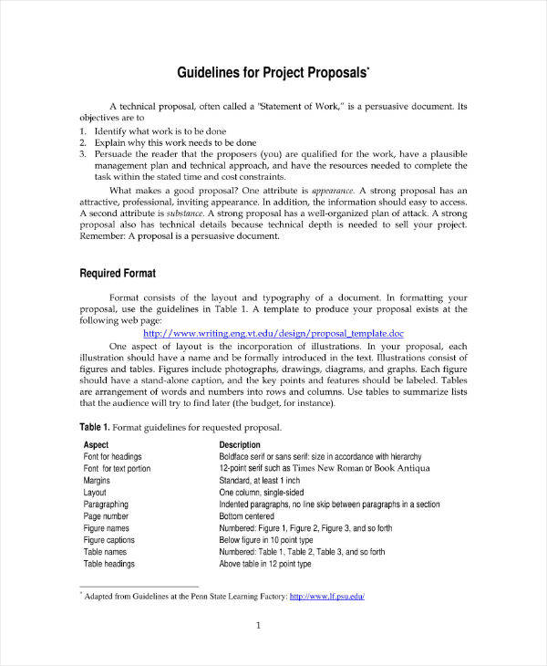 Engineering Design Proposal Template Sample
