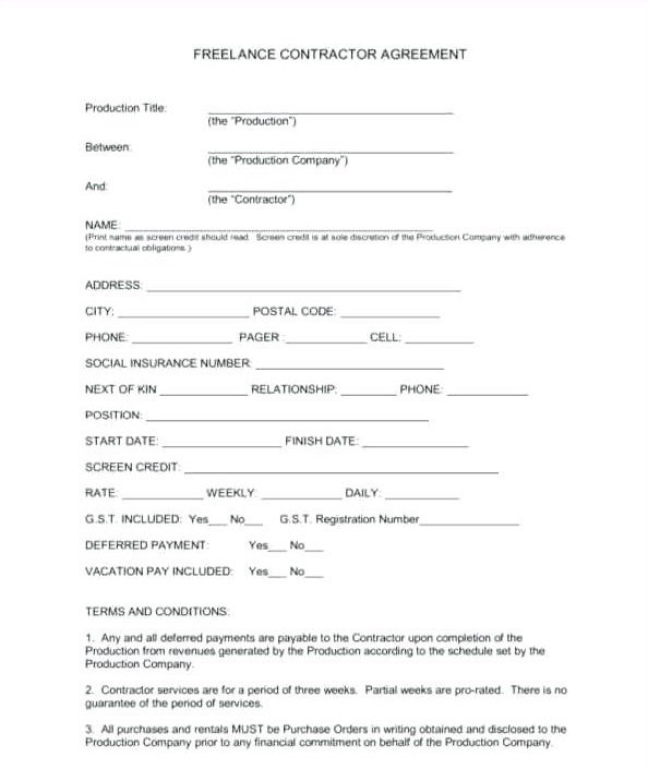 Writer Contract Template PDF
