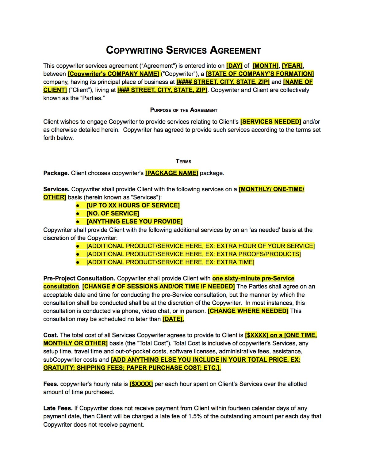 Copywriter Contract Template Sample