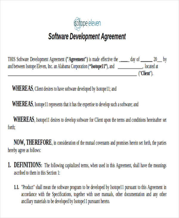Software Development Contract Template Sample