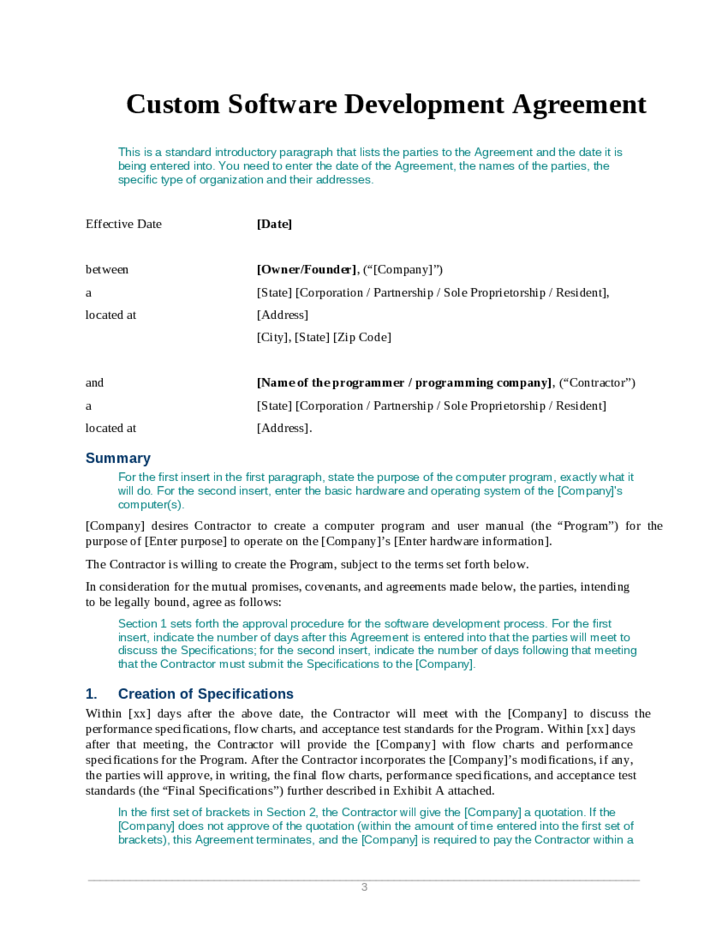 Software Development Contract Template PDF
