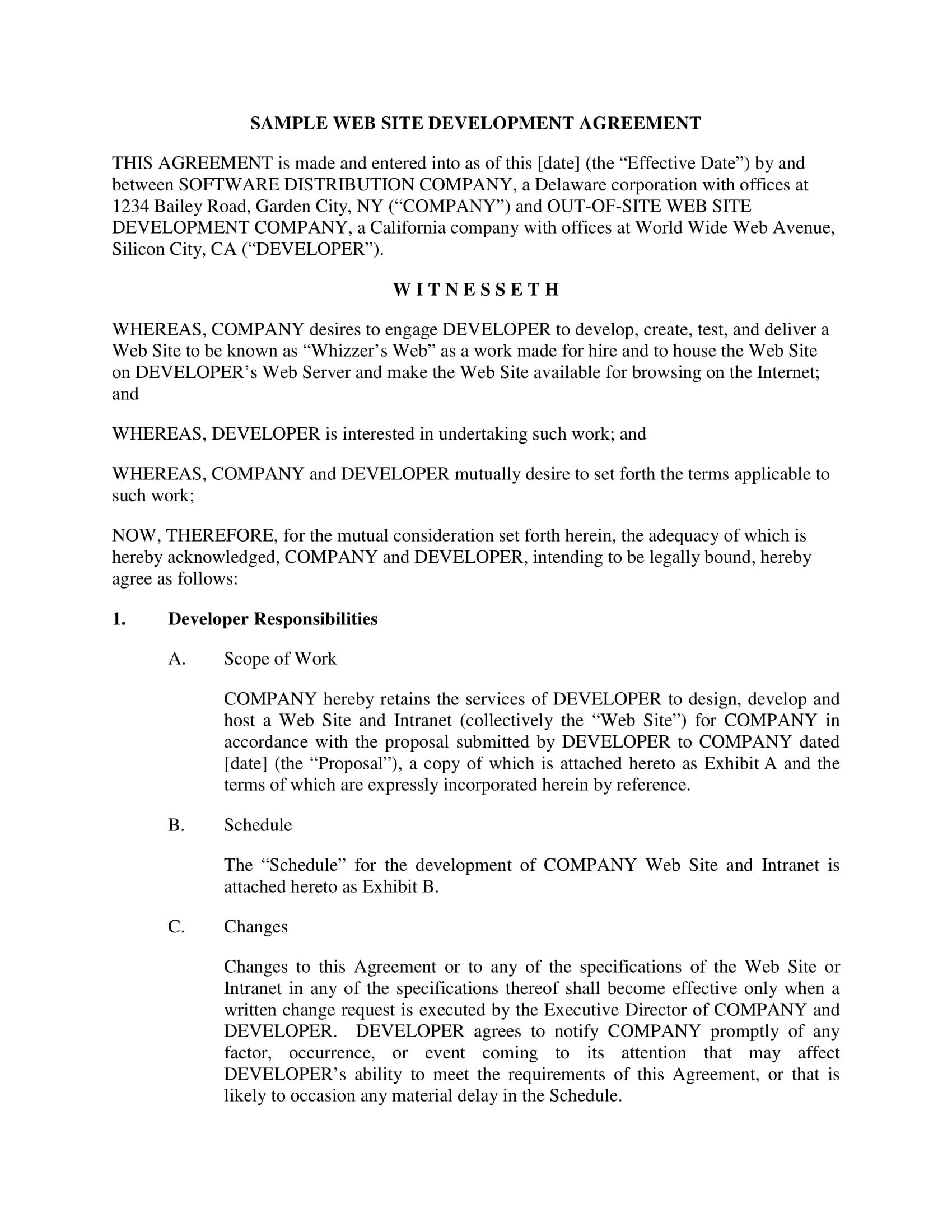 Development Contract Template PDF