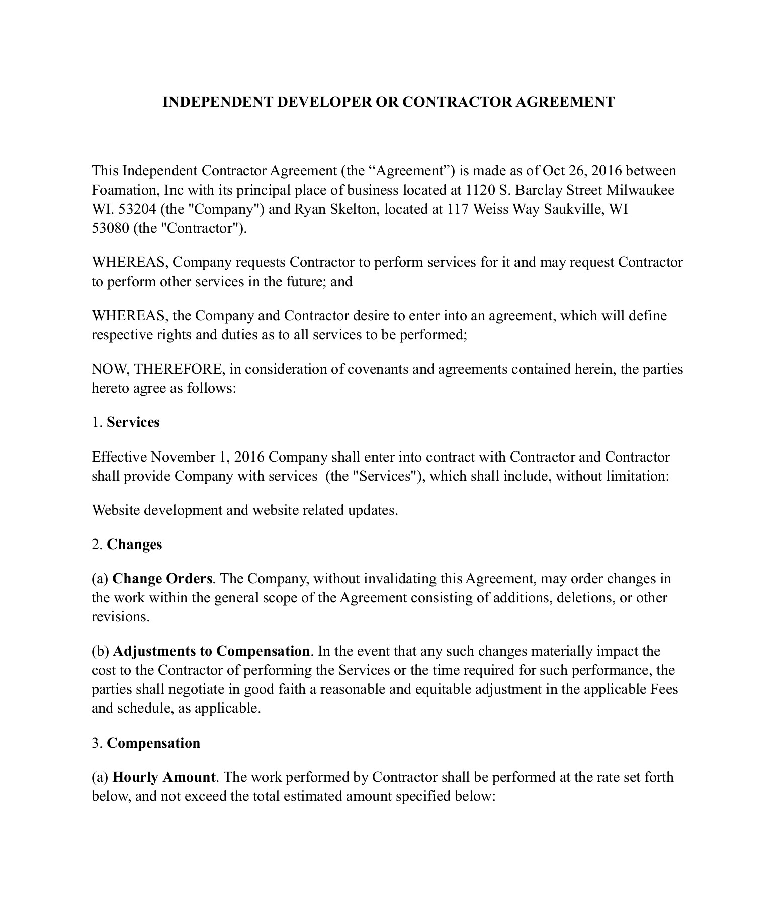 Front End Developer Contract Template Sample
