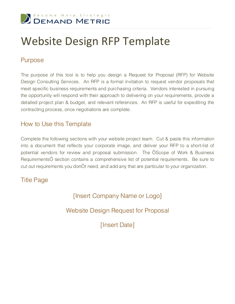 Graphic Design RFP Sample