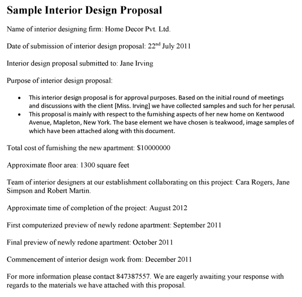 Interior Design Proposal Template Example Pdf Bonsai