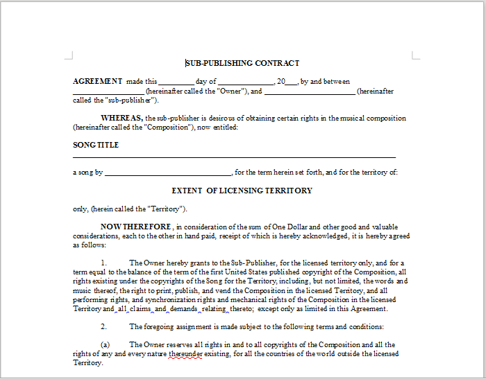 Publishing Contract Template Sample