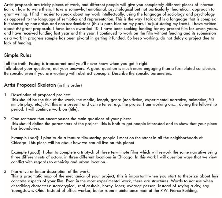 Artist Proposal Template PDF