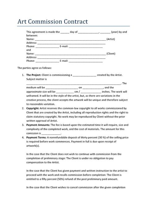 Artist Contract Template Example
