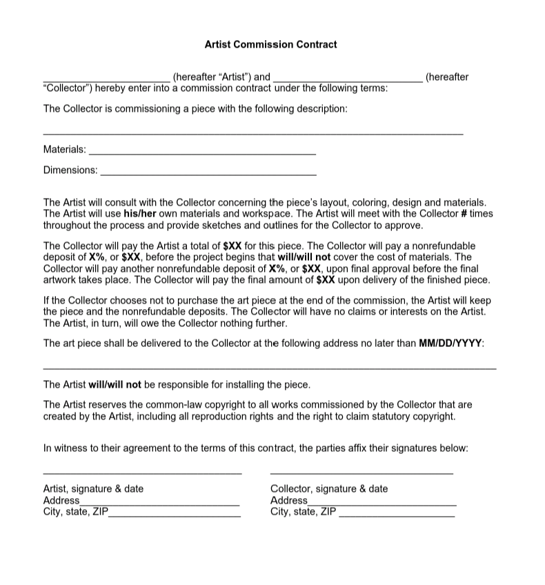 Artist Contract Template PDF