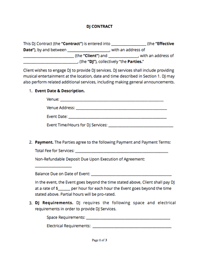 DJ Contract Template Example