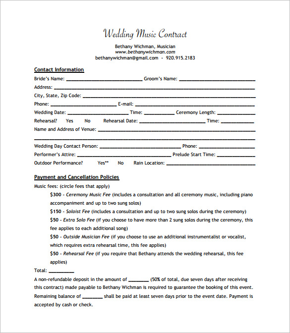 Singer Contract Template Sample