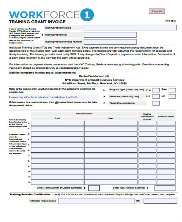 Training Invoice Template Sample
