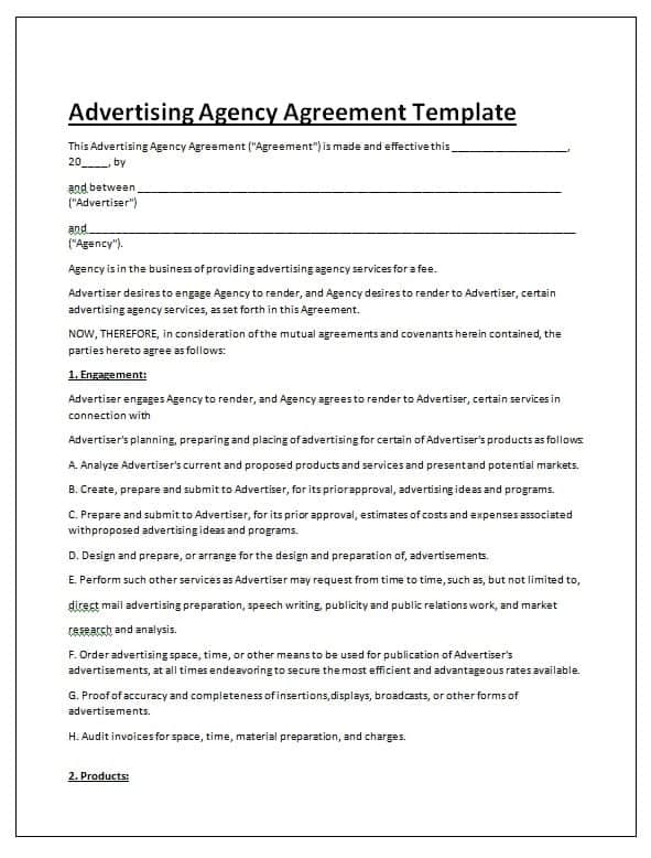 Advertising Contract Template Sample PDF