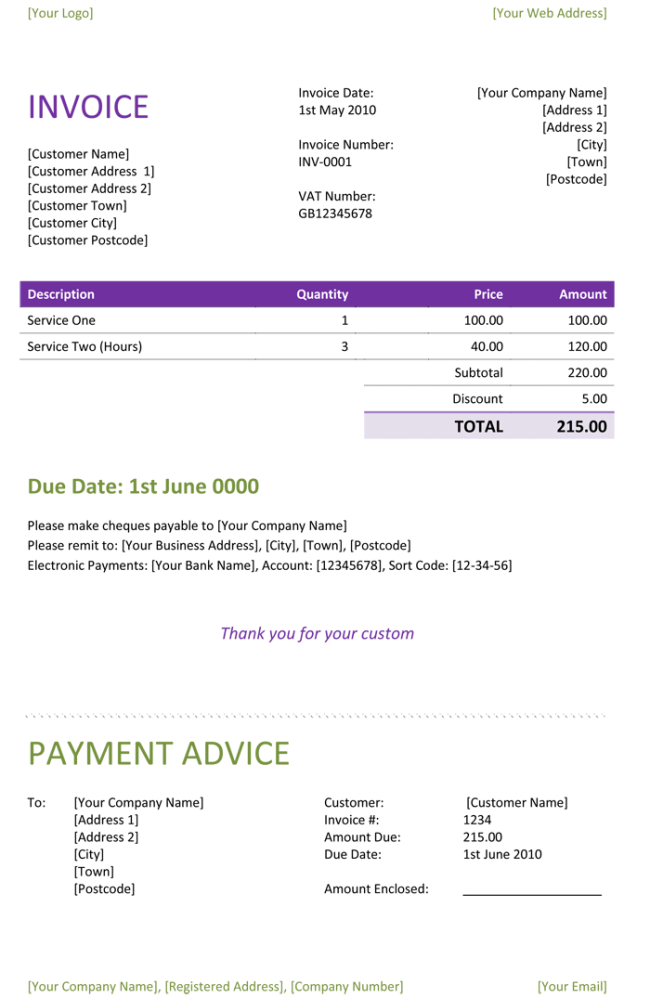 Freelance Invoice Template Example