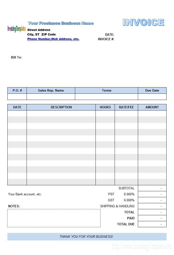 Freelance Invoice Template PDF