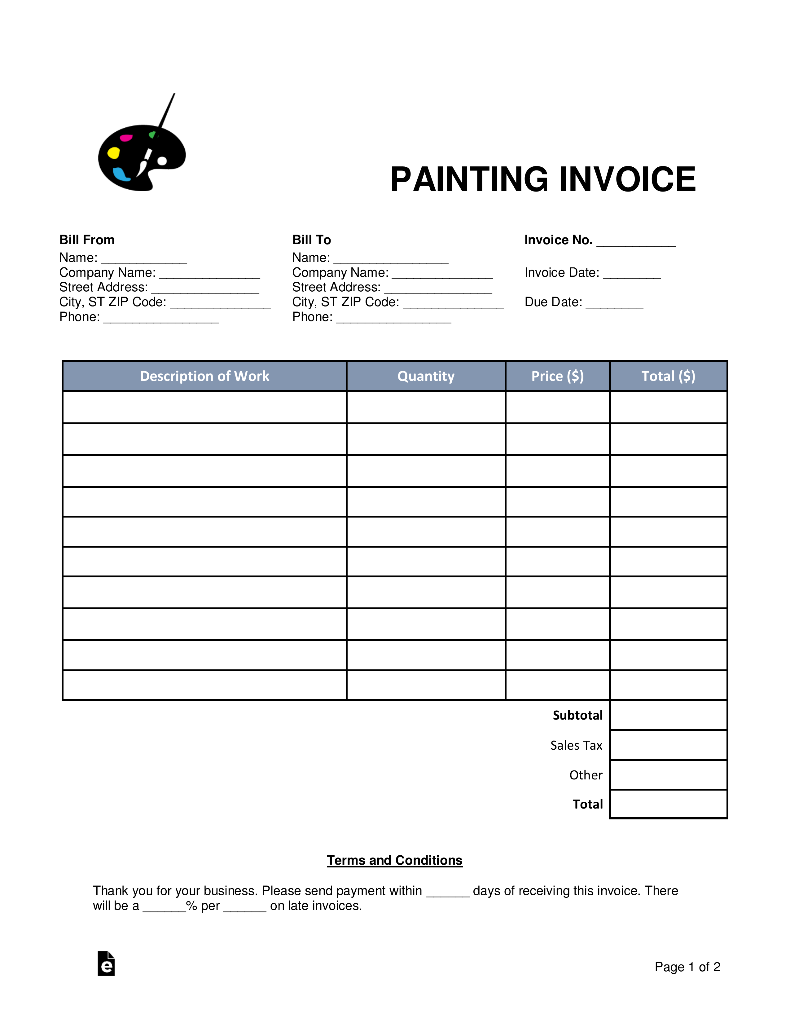 Painting Invoice Template