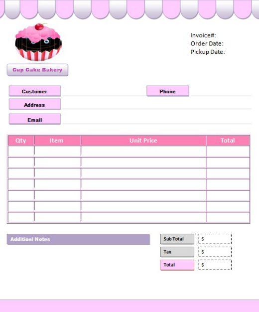 Cake Invoice Template