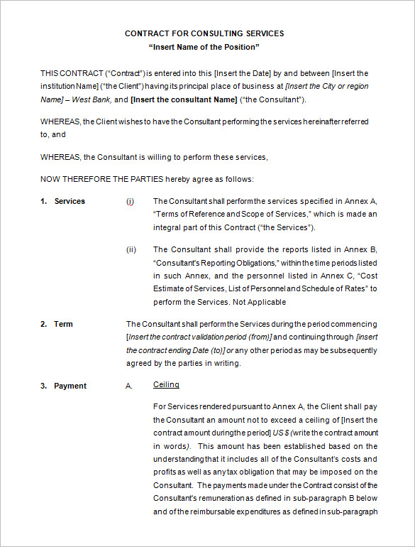 Consultant Contract Template PDF